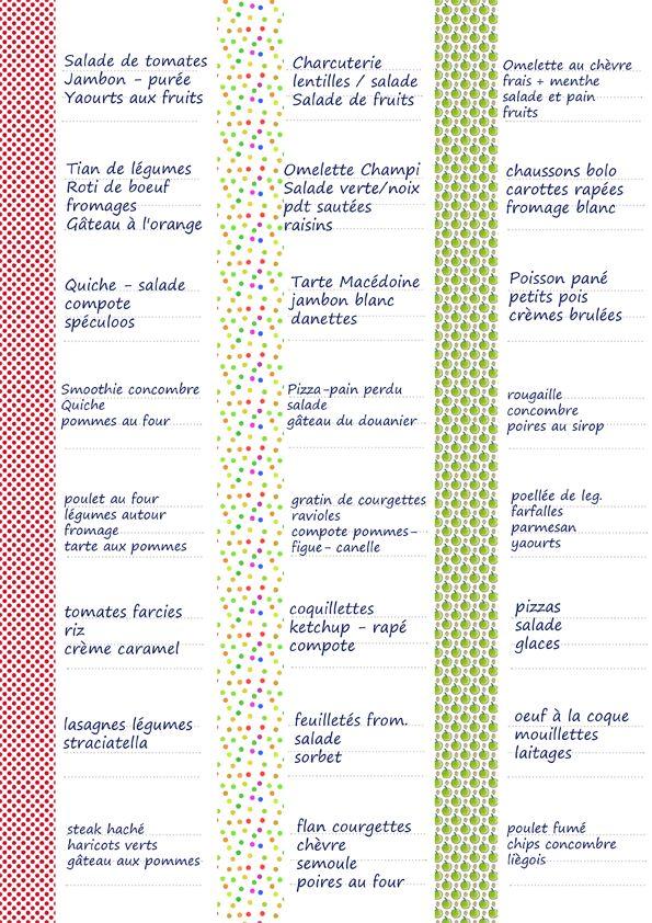 Grille de menus de septembre par Tambouille
