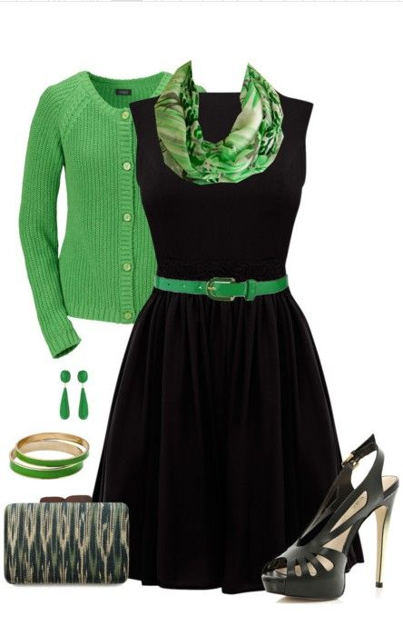incredible green and black dress outfit