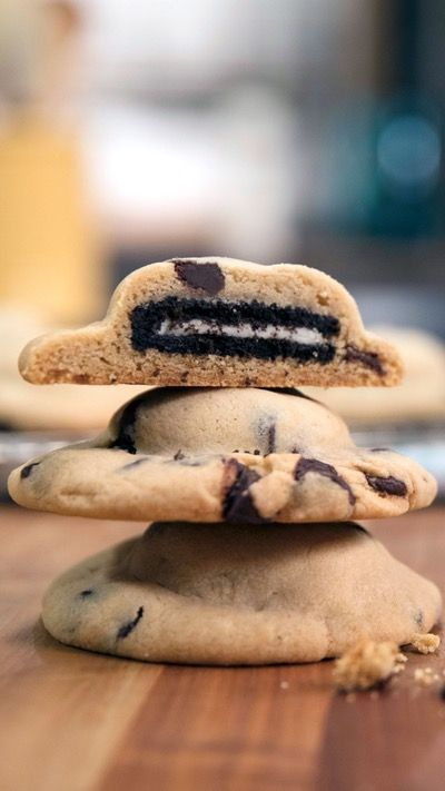 Say hello to perfectly chewy chocolate chip cookies with an Oreo inside. You're welcome.