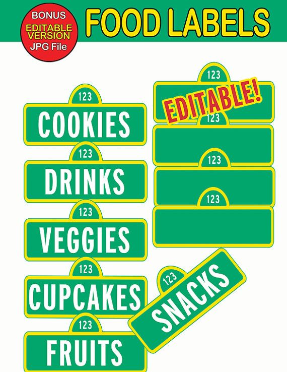 sesame street food labels food tags signs by