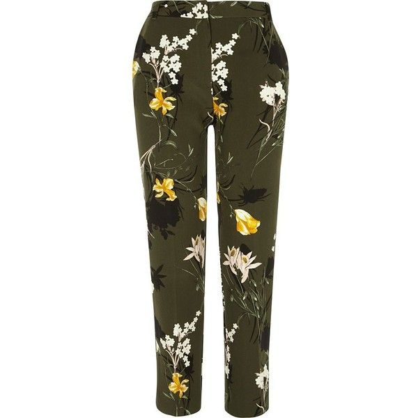 River Island Khaki floral tapered slim fit pants ($76) ❤ liked on Polyvore featuring pants, khaki, skinny pants, women, slim pants, brown pants, slim fit khaki pants, tall pants and high waisted trousers