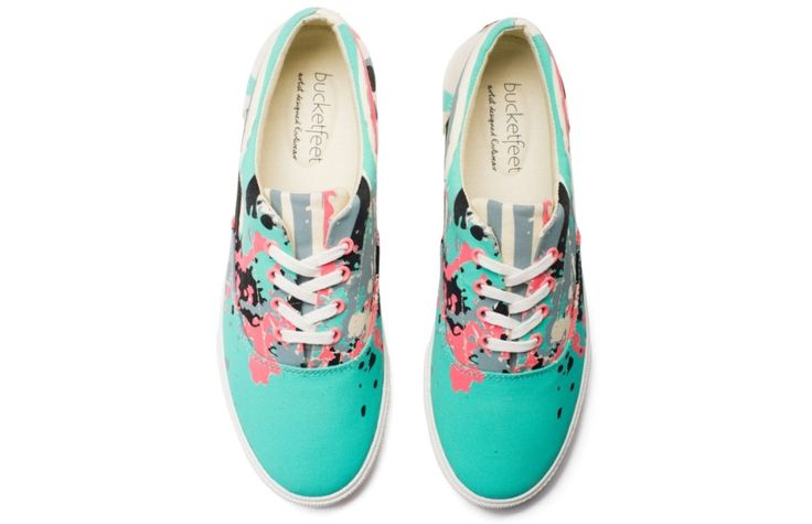 Bad Panda: This women's canvas lace-up is truly a one of a kind design. Artist Bad Panda incorporated elements of his hometown Miami into his painting. Light green and pink make this a great shoe for the summer. $68 via BucketFeet