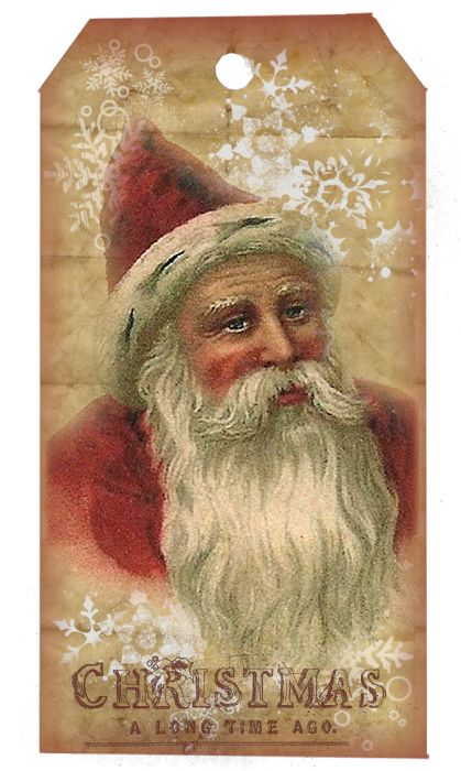Crows Creek Primitives: Freebie Vintage Santa Hang Tag Sheet