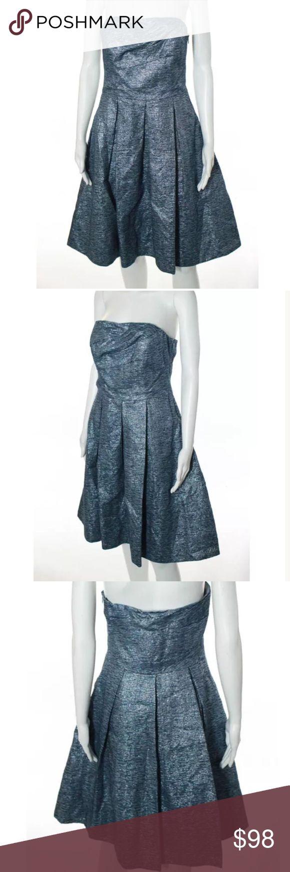 David Meister taffeta blue strapless dress Sz 6 Blue strapless taffeta dress David Meister Dresses Strapless