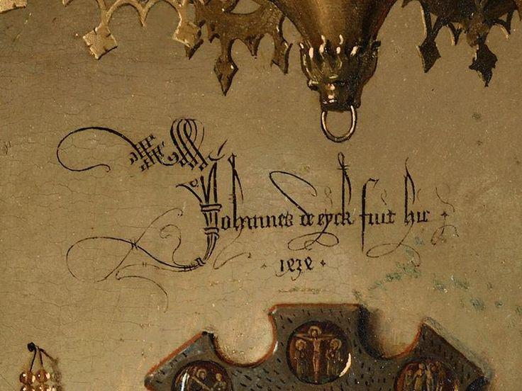 """Les Epoux Arnolfini, Van Eyck, 1434, Détail """"Johannes de eyck fuit hic"""""""