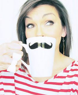 DIY- Mustache Mug    ****DID IT****  At a Pinterest Party - Mine didn't turn out so cute.
