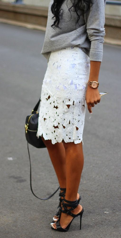 Latest fashion trends: Street style | Loose grey shirt, white lace skirt and ankle strapped heels
