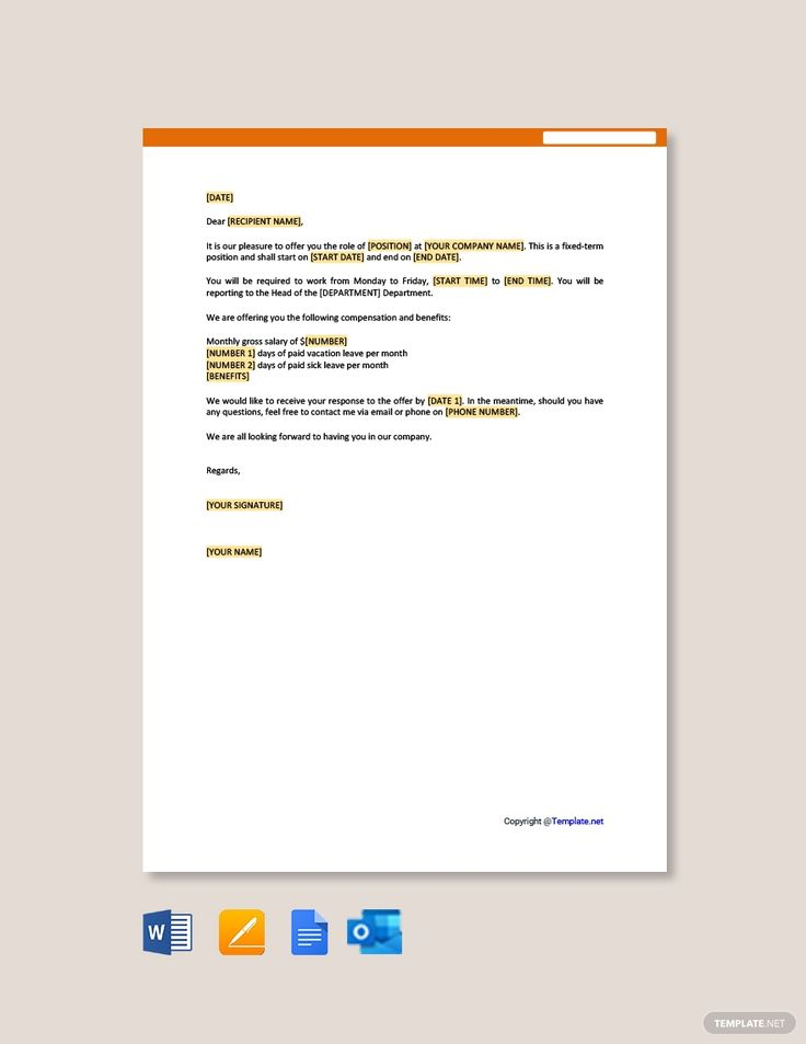 Free contract employee offer letter template word