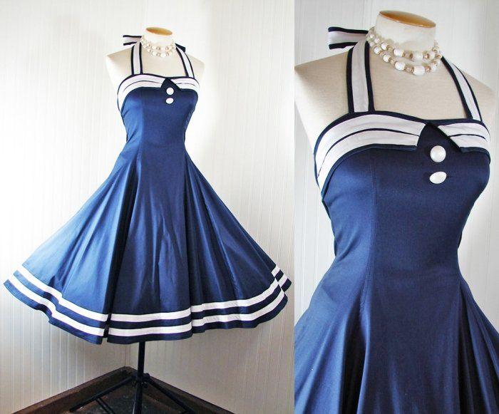 Vintage 50s Dress Nautical Sailor New Rockabilly Halter Circle Sundress s M L XL | eBay