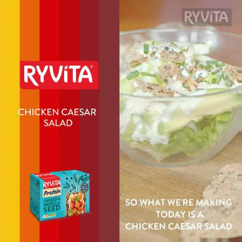 NEW Ryvita Protein makes a delicious addition to Chicken Caesar Salad, check out Davina McCall's recipe!