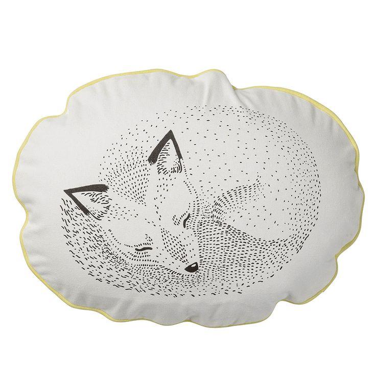 Sleeping Fox Pillow, Lemon, Bloomingville