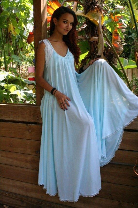 Something Blue Turquoise Wedding Lingerie Nightgown Full Sweep Nylon Angelic Something Blue Breakfast At Tiffanys Handmade Bridal