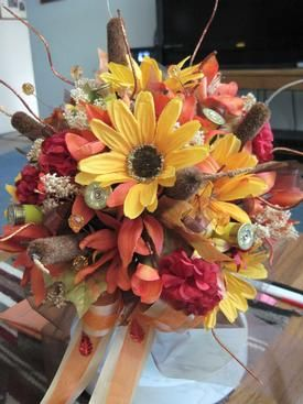 #Bridal bouquet in autumn colors and accented with 'spent' #shotgun shells #$120.00