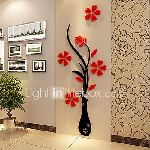 Navidad Romance Florales Pegatinas de pared Calcomanías 3D para Pared Calcomanías Decorativas de Pared,Vinilo Material Decoración hogareña 2017 - $129.76