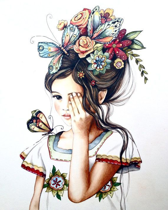 Original art work , flowers in her hair..