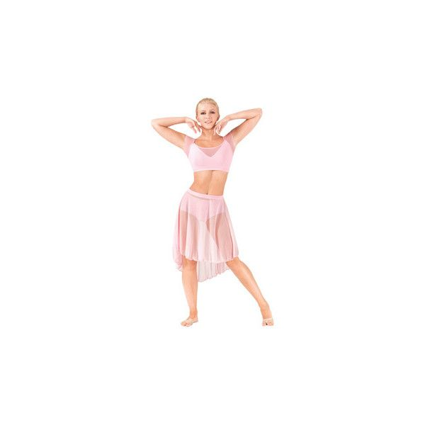 Adult Mid Length High-Low Mesh Dance Skirt ($19) ❤ liked on Polyvore featuring skirts, pink hi low skirt, dip hem skirt, hi low skirt, high low skirt and mullet skirt
