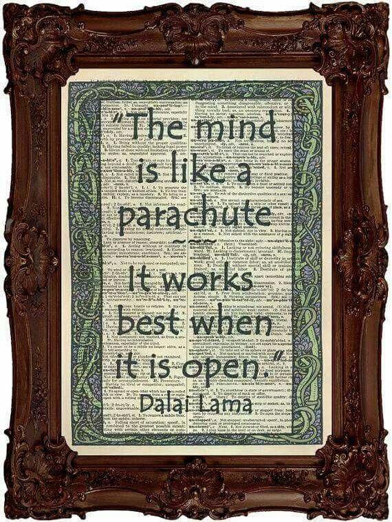 """""""The mind is like a parachute.  It works best when it is open"""". - Dalai Lama"""