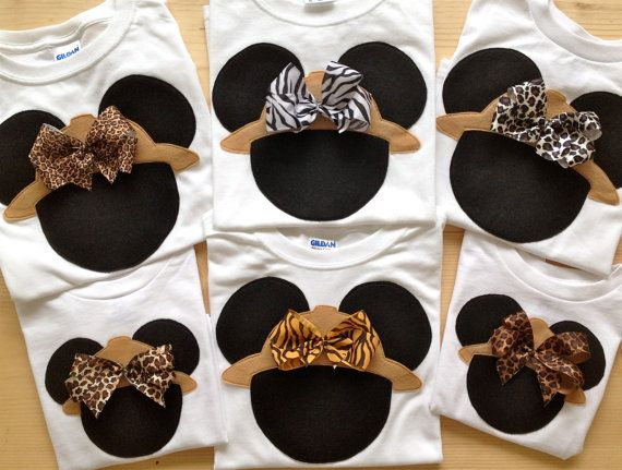 Disney Clothes for the Family Minnie Mouse Safari Shirt with Attached Bow - Animal Kingdom - Disney - Shirts 6 month - Adult 3X. $23.00, via Etsy.