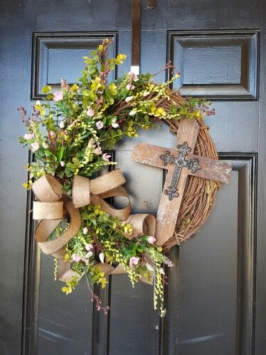 """He is Risen"" Spring/Easter wreath made by Dorene"