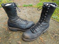 VINTAGE RED WING BLACK LEATHER STEEL TOE LOGGER BOOTS USA MADE SIZE 9 D