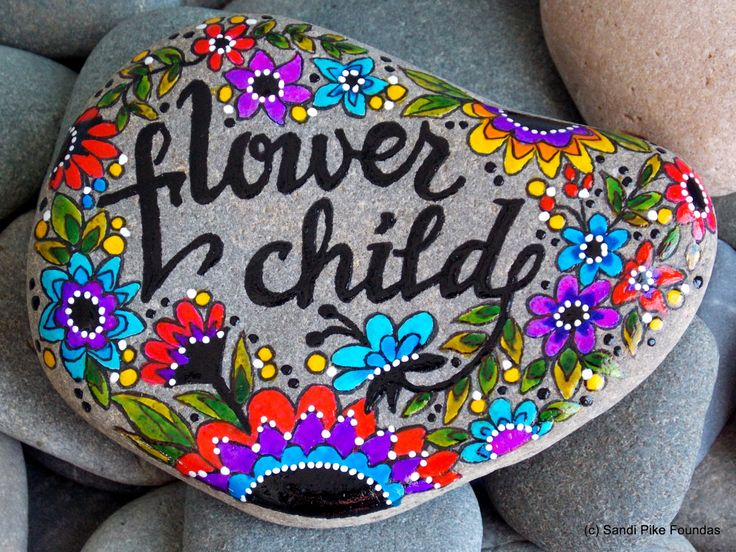 flower child / painted rocks /painted stones / rock art / hippie / boho art / home decor / wildflowers / peace art / child of th sixties by LoveFromCapeCod on Etsy