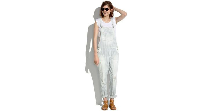 The Ultimate Spring Denim Guide - Madewell Park Overalls in Fade Stripe ($150) | Overalls | POPSUGAR Fashion