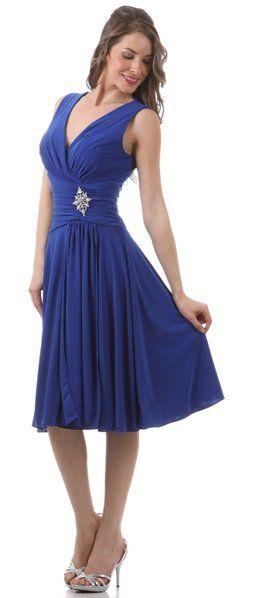 Tea Length Royal Blue Dress Semi Formal Chiffon Silver Broach $105.99