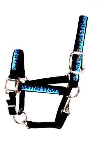 """Red Haute Horse BF1403 A Equine Elite Horse Halter, Blue Flames by Red Haute Horse. $36.55. 100-percent vibrant color-fast polyester. Made in the USA. Layers of solid colored accenting nylon. Stylish functional halter for your horse. Printed design on polyester braid. Equine Elite """"Blue Flames"""" Average size halter. Design and function best describe our """"Equine Elite"""" line of halters! Made with a highly durable, vibrantly colorful printed design on a polyester braid, then sewn..."""