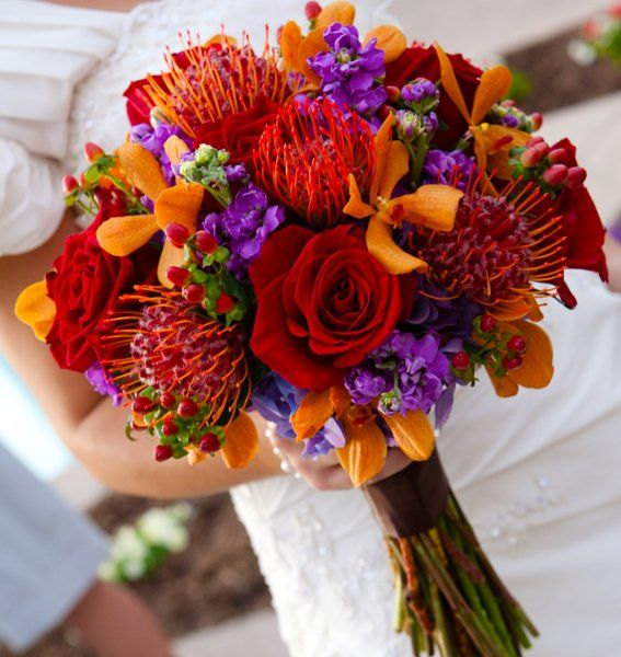 Dark Purple And Burnt Orange Wedding Cakes