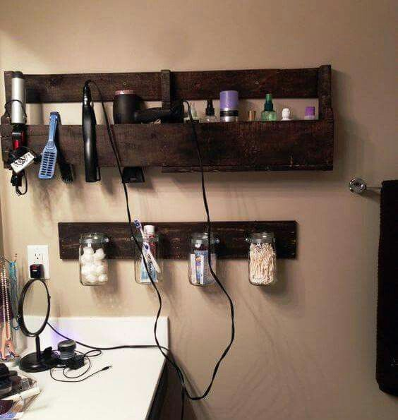 Bathroom organization for my teenagers hair & makeup items!