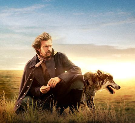 Dances with Wolves movie pic of Kevin Kostner and wolf