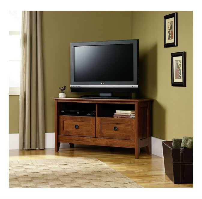tv stand corner console cabinet center storage home wood furniture - Sauder Tv Stands
