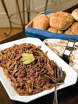 Shredded BBQ Beef Sandwiches - crockpot