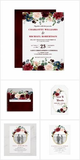 Burgundy Red Navy Floral Designs Watercolor Burgundy Red Navy Floral Rustic Boho…