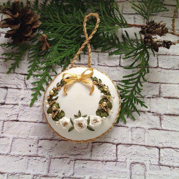 Fiori Bianchi Per Albero Di Natale.Albero Di Natale Bianco Oro Ornamento Albero Fiore Decorazione