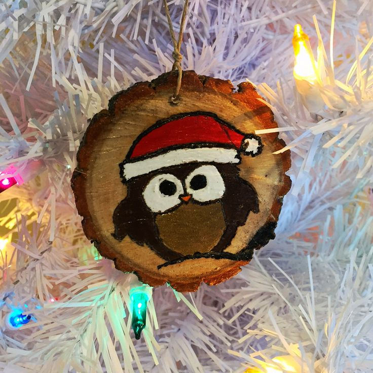 Wood burnt & Hand painted natural wood slice christmas tree decoration with owl in santa holiday hat by EarthDiverCreations on Etsy https://www.etsy.com/ca/listing/488625327/wood-burnt-hand-painted-natural-wood
