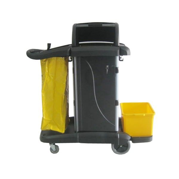 Janitor Cart Black with Cover  http://alatcleaning123.com/troley-carts/1731-janitor-cart-black-with-cover.html  #janitorcart #trolley #alatcleaning