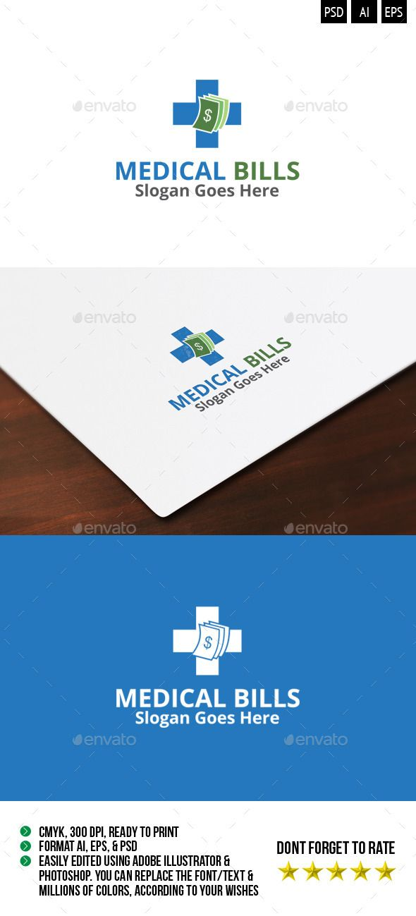 Medical Bills Logo : Great logo with a strong concept and visualization and precise color .You can easily modify as you want, in t