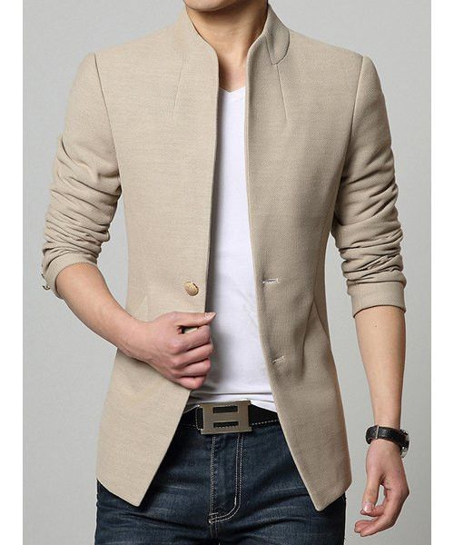 Copy of Stand Collar Single-Breasted Solid Color Simple Long Sleeve Men's…