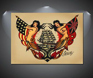 Sailor Jerry USA Galleon Tattoo Vintage Large Poster - A1, A2, A3, A4 sizes