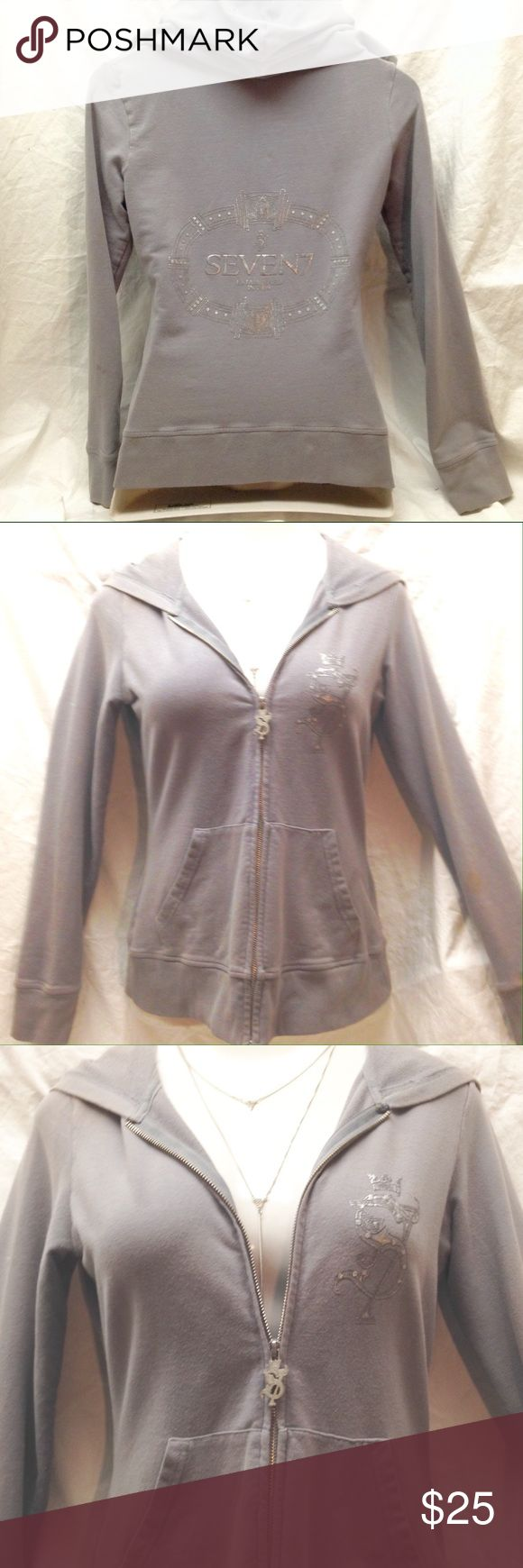 Seven for all Mankind zip up hoodie Seven for all mankind designer women's zip up gray hoodie with a silver metallic design on the back  Size medium - true to size  Good condition just one small stained on the left arm as pictured     🎀Free gift with every shipment 🎀 Seven for all Mankind Jackets & Coats