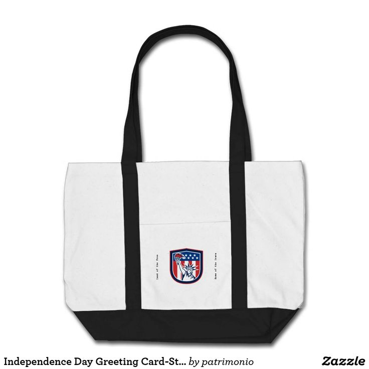 "Independence Day Greeting Card-Statue of Liberty H. Tote bag featuring an illustration of the Statue of Liberty holding a flaming torch set inside a shield done in retro style with the words ""United forever."" #IndependenceDay #4thofJuly #totebag"