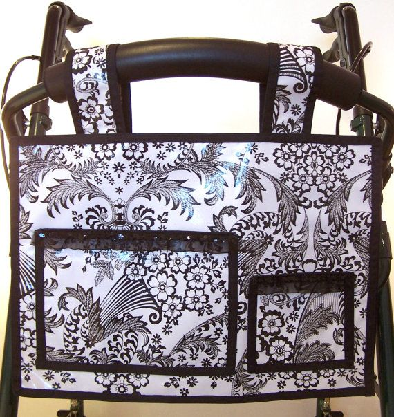 Walker bag (or for back of wheelchair/scooter) Very classy and made of oilcloth, so durable too! $45