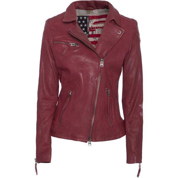 TRUE RELIGION Biker Backside La Crack Red Biker leather jacket found on Polyvore