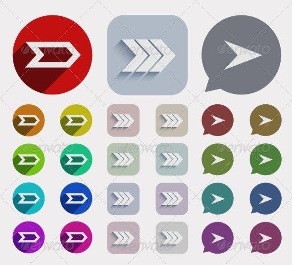 Vector Flat Arrows Icons Set Ad Flat Sponsored Vector