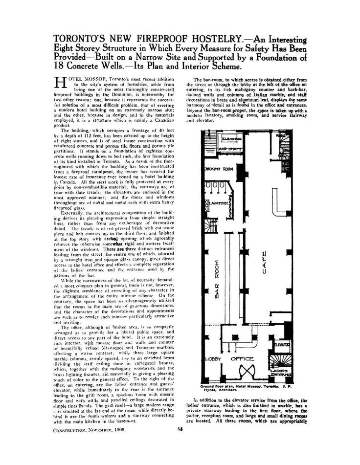 Hotel Victoria - Construction Magazine, November 1909