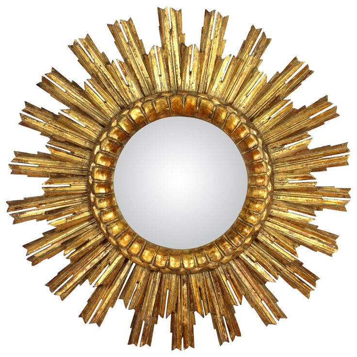 Baroque Style Giltwood Double Layered Convex Sunburst Mirror | 1stdibs.com