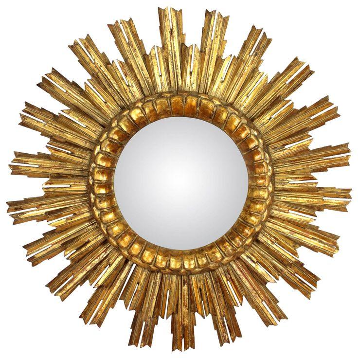 Baroque Style Giltwood Double Layered Convex Sunburst Mirror   1stdibs.com