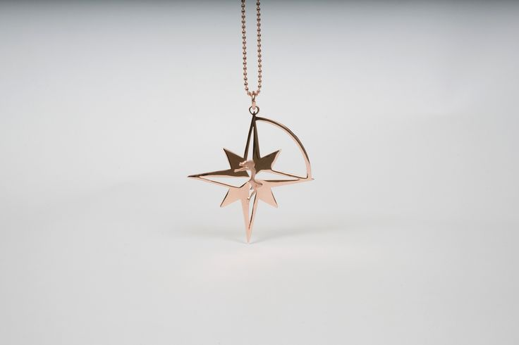 Compass Star in Pink Gold plated Bronze by THE BRITELINE