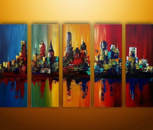 Santin Art-Summer In The City-Modern Canvas Art Wall Decor-Cityscape Oil Painting Wall Art Santin Art http://smile.amazon.com/dp/B00JWGD1U4/ref=cm_sw_r_pi_dp_vKl.tb0AGNDG3